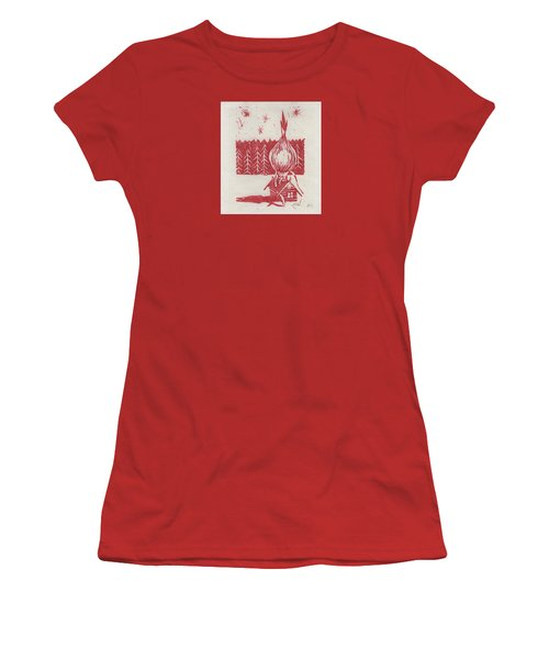 Women's T-Shirt (Junior Cut) featuring the mixed media Onion Dome by Alla Parsons