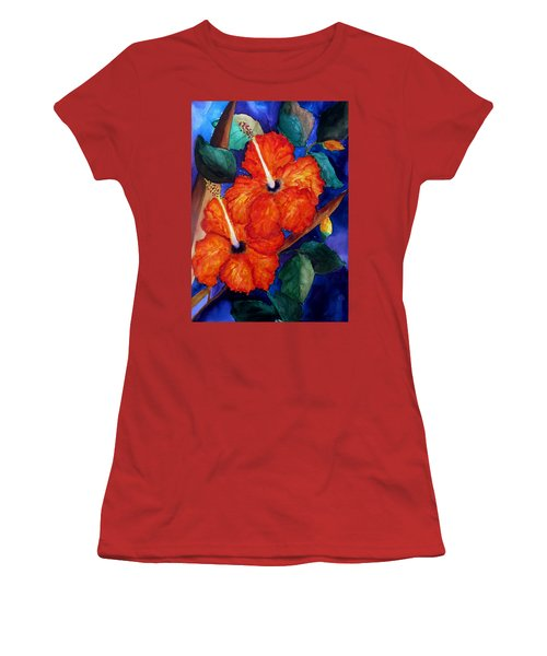 Orange Hibiscus Women's T-Shirt (Junior Cut) by Lil Taylor