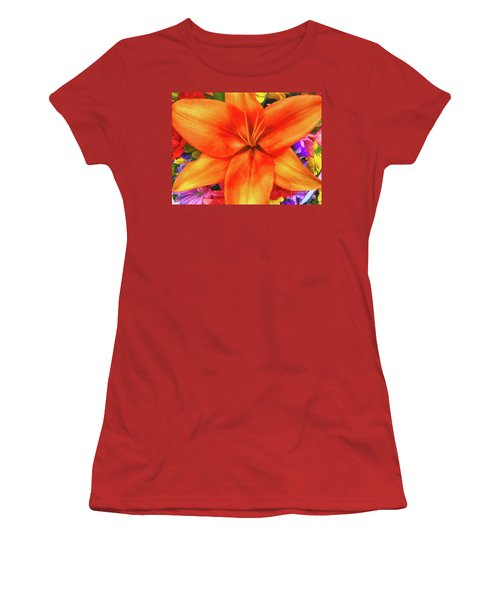 Women's T-Shirt (Junior Cut) featuring the painting Orange Lilly Art by Deborah Benoit