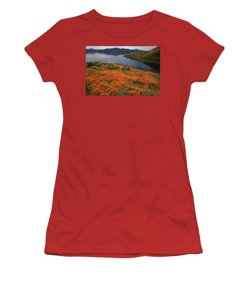 Women's T-Shirt (Junior Cut) featuring the photograph Orange Poppy Fields At Diamond Lake In California by Jetson Nguyen