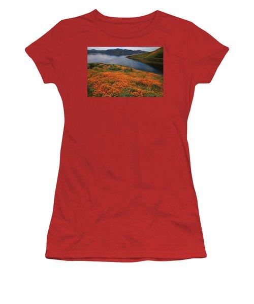 Orange Poppy Fields At Diamond Lake In California Women's T-Shirt (Junior Cut) by Jetson Nguyen