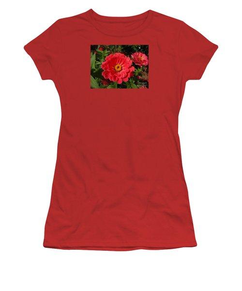 Orange Red Zinnia Women's T-Shirt (Junior Cut) by Rod Ismay