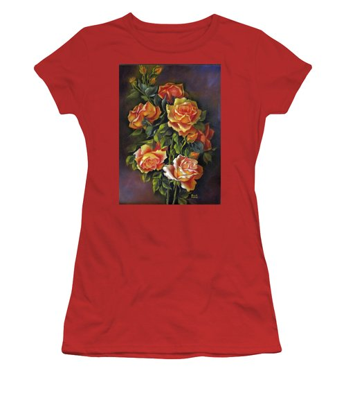 Orange Roses Women's T-Shirt (Junior Cut) by Katia Aho