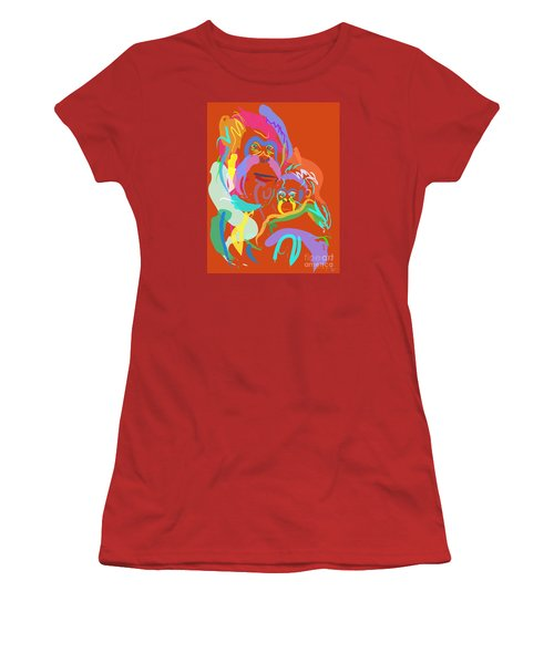 Orangutan Mom And Baby Women's T-Shirt (Junior Cut) by Go Van Kampen