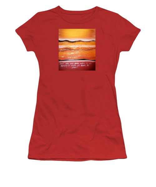 Women's T-Shirt (Athletic Fit) featuring the painting Orders To The Morning by Winsome Gunning