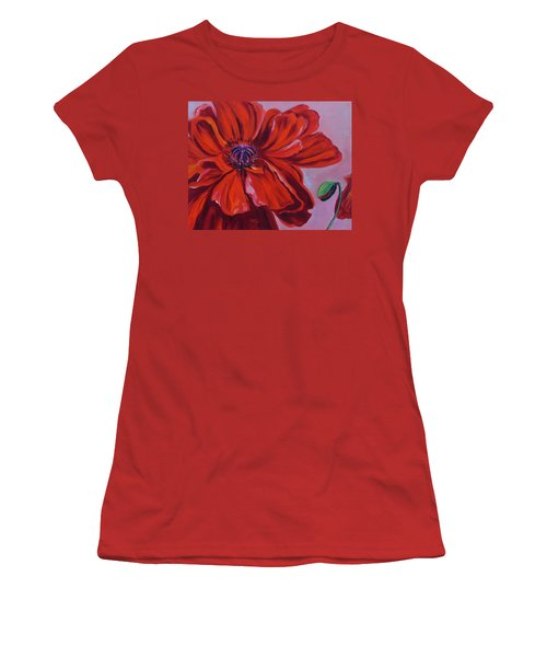 Oriental Poppy With Bud Women's T-Shirt (Athletic Fit)