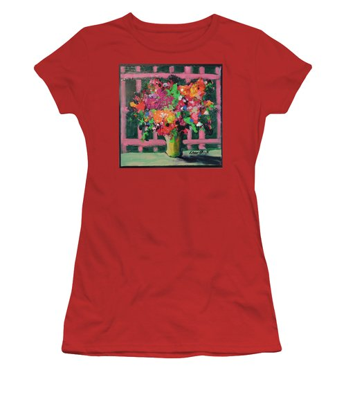 Women's T-Shirt (Junior Cut) featuring the painting Original Bouquetaday Floral Painting By Elaine Elliott 59.00 Incl Shipping 12x12 On Canvas by Elaine Elliott
