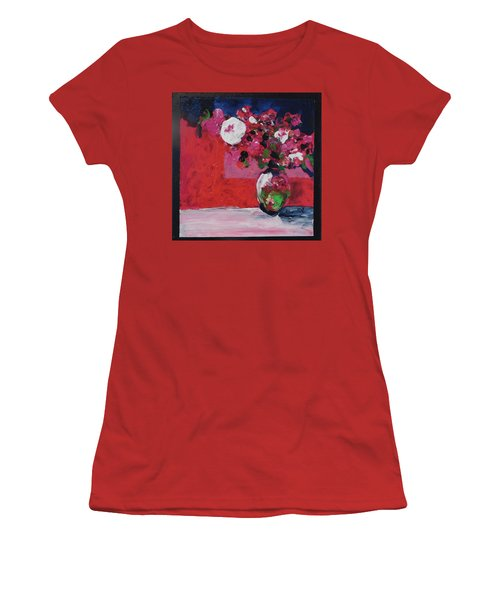 Women's T-Shirt (Junior Cut) featuring the painting Original Floral Painting By Elaine Elliott, 12x12 Acrylic And Collage, 59.00 Incl. Shipping, Contemp by Elaine Elliott