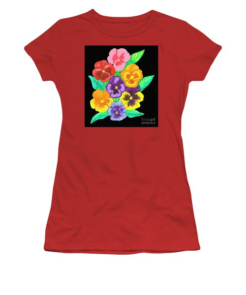 Pansies On Black Women's T-Shirt (Junior Cut) by Irina Afonskaya