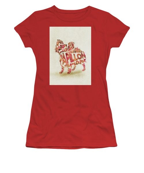 Women's T-Shirt (Athletic Fit) featuring the painting Papillon Dog Watercolor Painting / Typographic Art by Ayse and Deniz