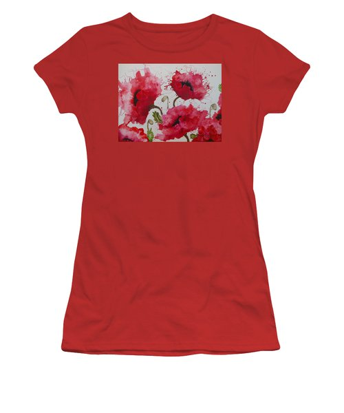 Party Poppies Women's T-Shirt (Junior Cut) by Karen Kennedy Chatham