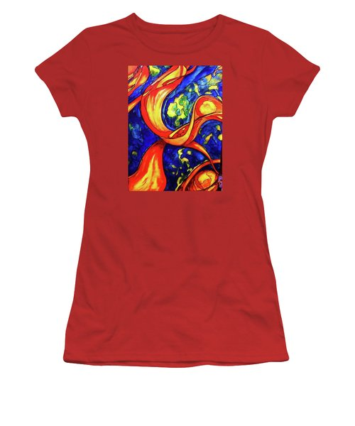 Women's T-Shirt (Junior Cut) featuring the painting Peaceful Coexistence by Rae Chichilnitsky