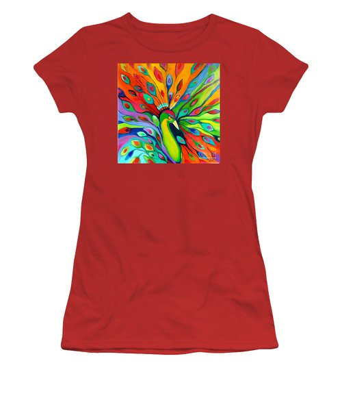 Women's T-Shirt (Junior Cut) featuring the painting Peacock On The 4th Of July by Alison Caltrider