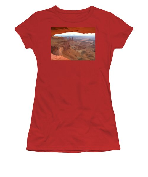 Women's T-Shirt (Junior Cut) featuring the digital art Peering Out 2 Watercolor by Gary Baird