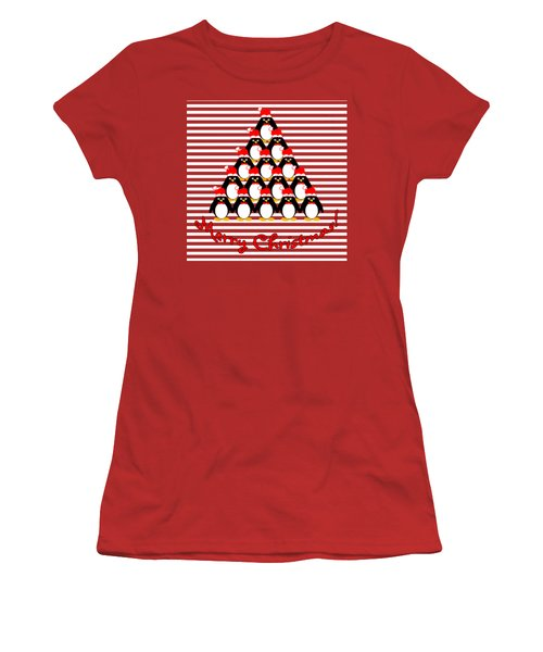 Penguin Christmas Tree N Stripes Women's T-Shirt (Junior Cut) by Methune Hively