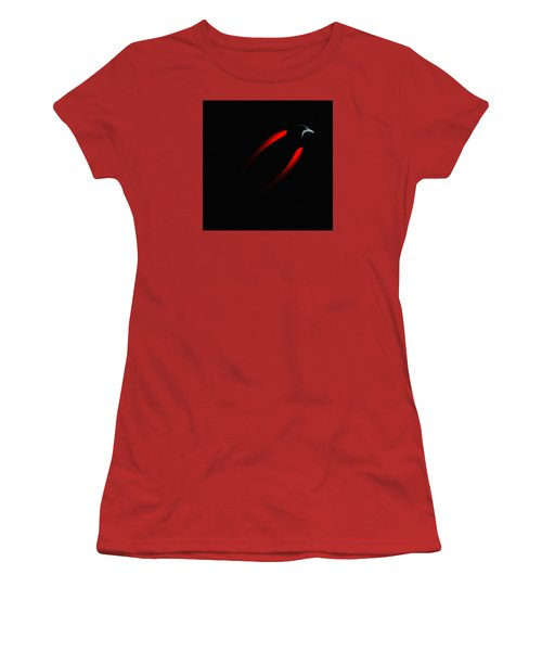 Women's T-Shirt (Junior Cut) featuring the painting Penman Original 281 - Fleeing From The Grip Of Terror by Andrew Penman