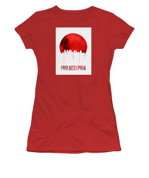 Philadelphia Skyline Redskyline Red Women's T-Shirt (Junior Cut) by Naxart Studio