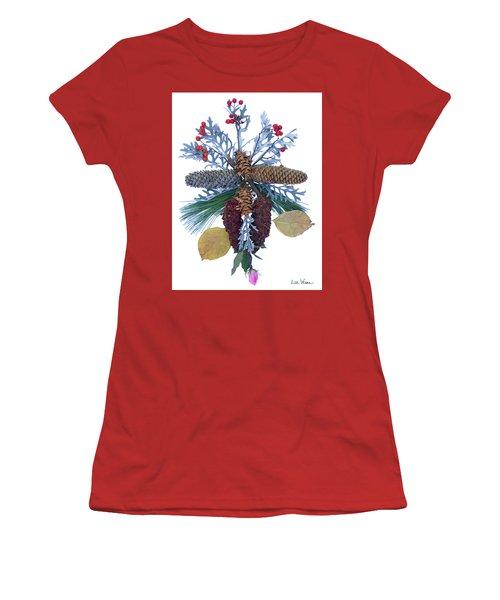 Women's T-Shirt (Junior Cut) featuring the digital art Pine Cone Bouquet by Lise Winne