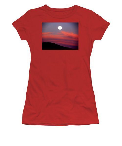 Pink Clouds With Moon Women's T-Shirt (Athletic Fit)