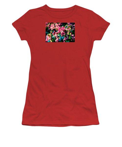 Women's T-Shirt (Junior Cut) featuring the photograph Pink Crab Apple Flowers by Alexander Senin