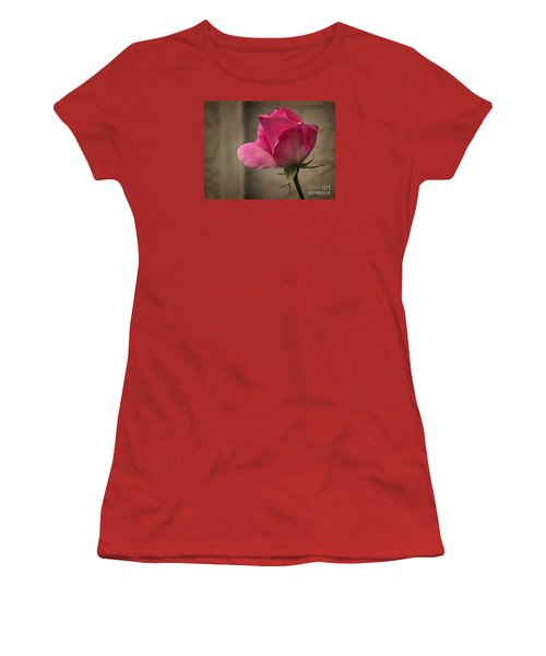 Women's T-Shirt (Junior Cut) featuring the photograph Pink Rose by Inge Riis McDonald