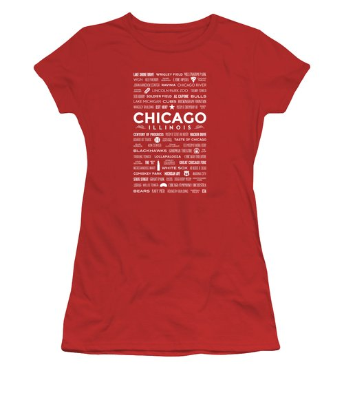 Places Of Chicago On Red Chalkboard Women's T-Shirt (Junior Cut) by Christopher Arndt
