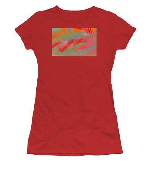 Women's T-Shirt (Junior Cut) featuring the digital art Pond Abstract - Summer Colors by Ben and Raisa Gertsberg