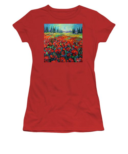 Poppies And Cypresses - Modern Impressionist Palette Knives Oil Painting Women's T-Shirt (Athletic Fit)