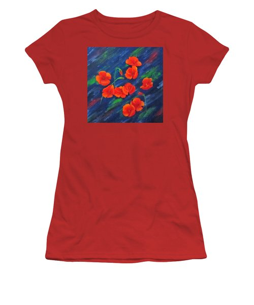 Poppies In Abstract Women's T-Shirt (Junior Cut) by Roseann Gilmore