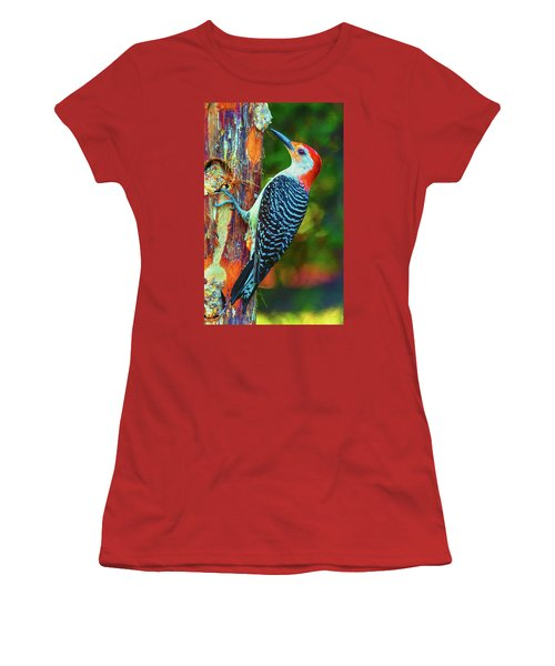 Popping Color Woodpecker Women's T-Shirt (Junior Cut)