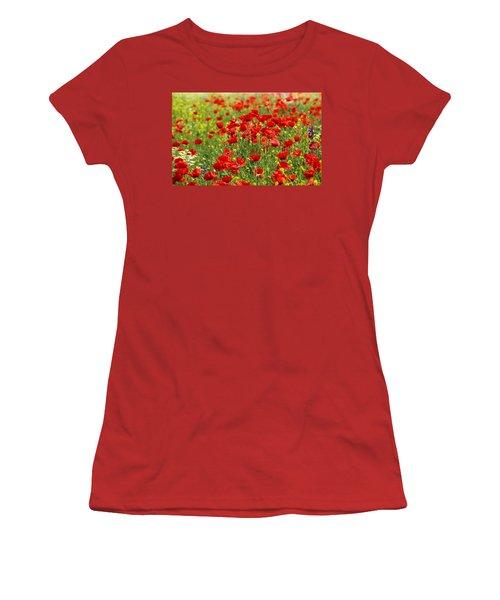 Poppy Field Women's T-Shirt (Junior Cut) by Thomas M Pikolin