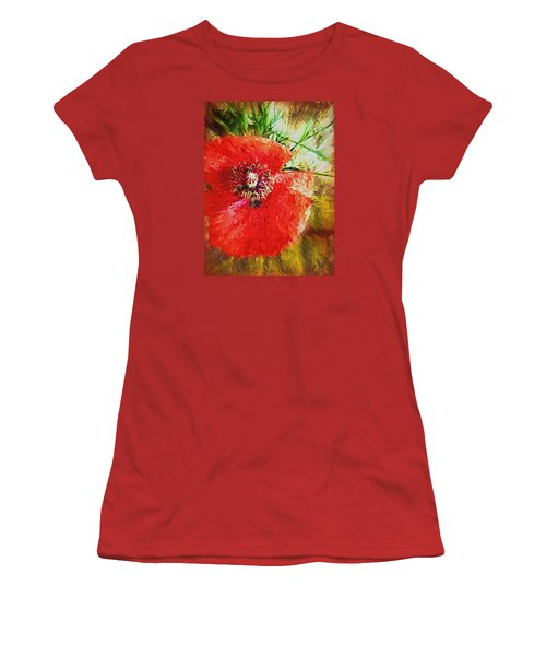 Women's T-Shirt (Junior Cut) featuring the photograph Poppy Variation Too by Kathy Bassett