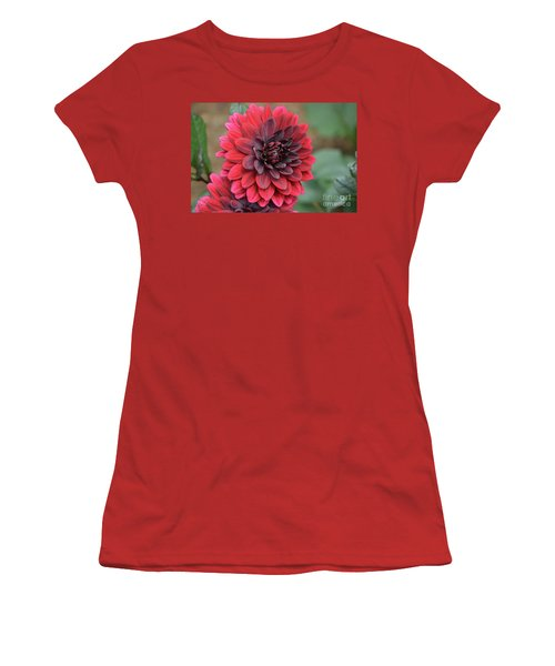 Pretty Blooming Red Dahlia Flower Blossom Women's T-Shirt (Athletic Fit)