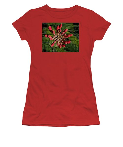 Women's T-Shirt (Athletic Fit) featuring the photograph Psychedelic Bud by Jean Noren