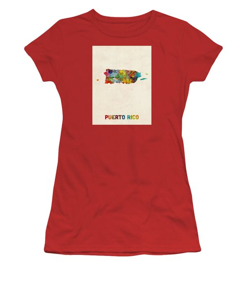 Puerto Rico Watercolor Map Women's T-Shirt (Junior Cut) by Michael Tompsett