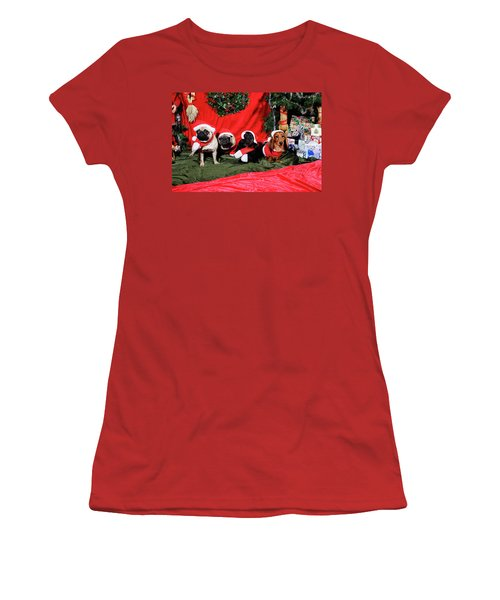 Pugs And Dachshounds Dressed As Father Christmas Women's T-Shirt (Athletic Fit)