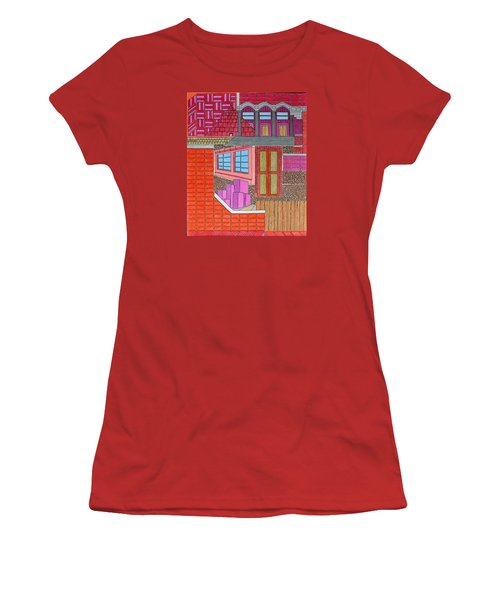 Purple Buildings Women's T-Shirt (Athletic Fit)