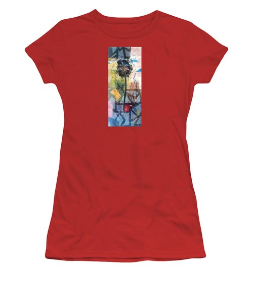 Puzzled Floral Women's T-Shirt (Athletic Fit)