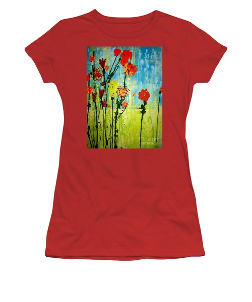 Women's T-Shirt (Junior Cut) featuring the painting Rain Or Shine by Ashley Price