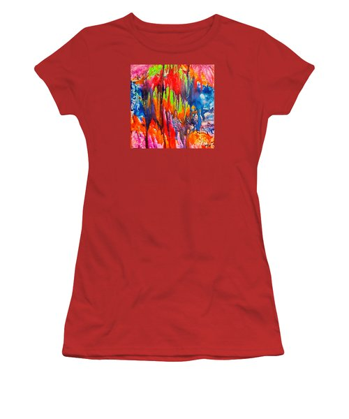 Women's T-Shirt (Junior Cut) featuring the painting Raindrops On The Window by Dragica  Micki Fortuna