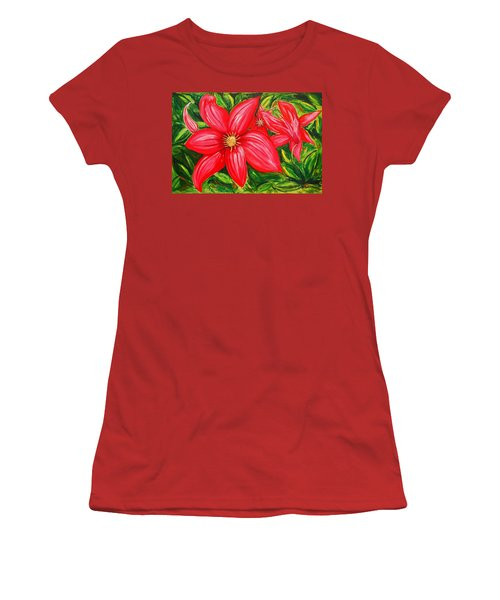 Red And Green Women's T-Shirt (Athletic Fit)
