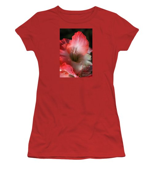 Red And White Gladiolus Flower Women's T-Shirt (Junior Cut) by Joy Watson