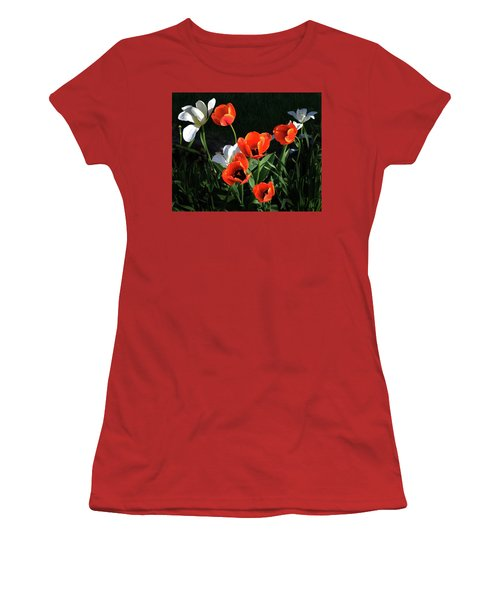 Women's T-Shirt (Junior Cut) featuring the photograph Red And White Tulips by Kathleen Stephens