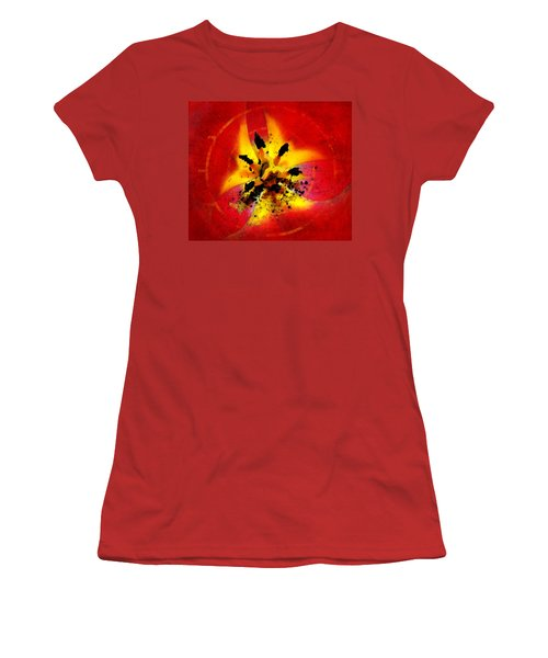 Red And Yellow Flower Women's T-Shirt (Junior Cut) by Judi Saunders