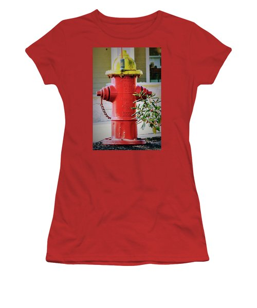 Red And Yellow Hydrant Women's T-Shirt (Athletic Fit)