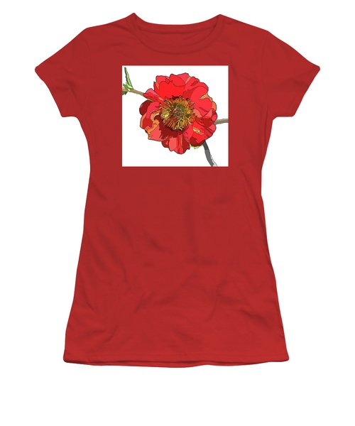 Red Blossom Women's T-Shirt (Junior Cut) by Jamie Downs