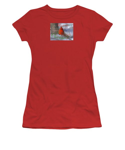 Women's T-Shirt (Junior Cut) featuring the mixed media Red Cardinal Christmas by Mary Armstrong