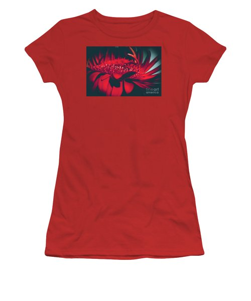 Women's T-Shirt (Junior Cut) featuring the photograph Red Flowers Parametric by Sharon Mau
