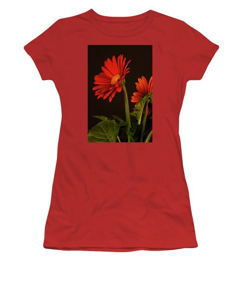 Women's T-Shirt (Junior Cut) featuring the photograph Red Gerbera Daisy 1 by Richard Rizzo