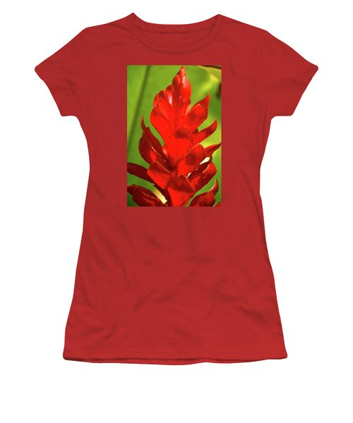Red Ginger Bud After Rainfall Women's T-Shirt (Junior Cut) by Michael Courtney